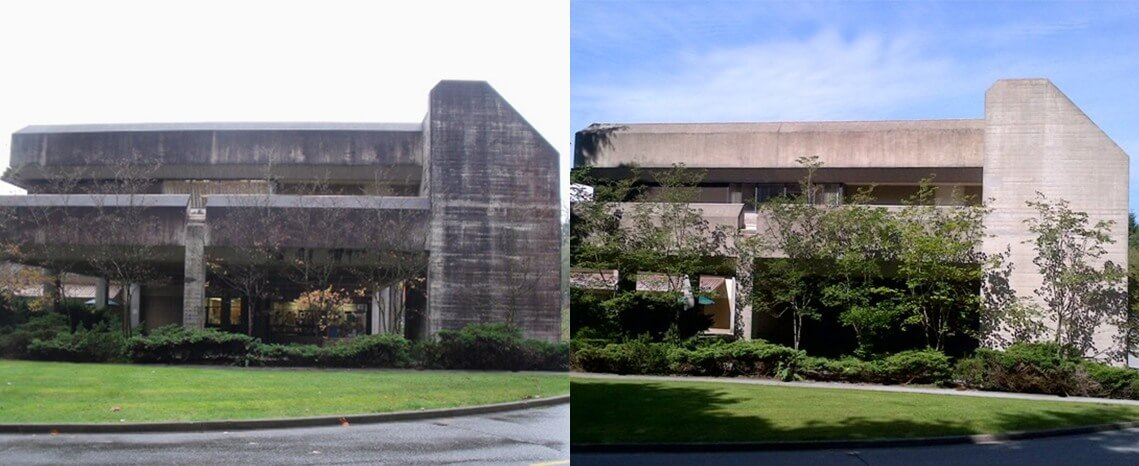 Concrete Building Cleaning Before/After