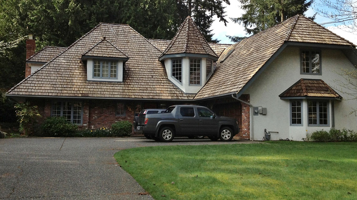 Cedar Roof that has been cleaned